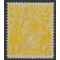 AUSTRALIA - 1916 4d lemon-yellow KGV Head, single watermark, MH – ACSC # 110C