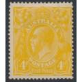 AUSTRALIA - 1917 4d pale orange-yellow KGV Head, single watermark, MH – ACSC # 110E
