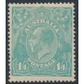 AUSTRALIA - 1920 1/4 turquoise-blue KGV Head, single watermark, MH – ACSC # 128A