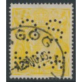 AUSTRALIA - 1916 4d lemon-yellow KGV Head, single watermark, perf. OS NSW, used – ACSC # 110Cb