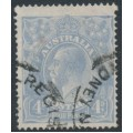 AUSTRALIA - 1922 4d blue KGV Head, 'weeping 4 at right', used – ACSC # 112C(2)f