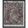 AUSTRALIA - 1919 1½d grey-black KGV, LMWM, thin paper + 'scoop in frame', used – ACSC # 84C(1)o+aa