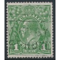 AUSTRALIA - 1926 1d green KGV, SM watermark, perf. 14¼:14, 'flaw under neck', used – ACSC # 80A(4)h