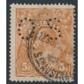 AUSTRALIA - 1915 5d chestnut KGV, single watermark, SLP,  'flaw base of wattles', used – ACSC # 122Aba