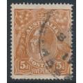 AUSTRALIA - 1915 5d chestnut KGV Head, single watermark, SLP,  'flaw on Roo's neck', used – ACSC # 122Av