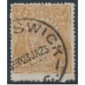 AUSTRALIA - 1917 5d yellow-brown KGV Head, single watermark, comb perf., 'break in frame behind Emu', used – ACSC # 123Ei