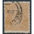 AUSTRALIA - 1917 5d yellow-brown KGV Head, single watermark, comb perf., 'shaved SE corner', used – ACSC # 123Ej