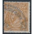 AUSTRALIA - 1917 5d orange-brown KGV Head, single watermark, comb perf., 'retouched NW corner', used – ACSC # 123Ck