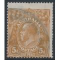 AUSTRALIA - 1917 5d orange-brown KGV Head, single watermark, comb perf., 'flaw on P of PENCE', used – ACSC # 123Dvfa