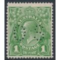 AUSTRALIA - 1926 1d green KGV, SM watermark, p.13½:12½, perf. OS, 'Ferns', MH – ACSC # 81D(4)ia+ba