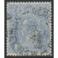 AUSTRALIA - 1922 4d dull blue KGV Head, 'notch in lower frame at left', used – ACSC # 112C(1)n
