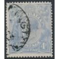 AUSTRALIA - 1922 4d pale ultramarine KGV Head, 'flaw in left wattles', used – ACSC # 112A(2)vf