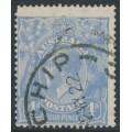 AUSTRALIA - 1922 4d ultramarine KGV Head, 'flaw in left wattles', used – ACSC # 112A(2)vf