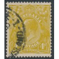 AUSTRALIA - 1933 4d yellow-olive KGV Head, CofA watermark, 'spur on right 4', used – ACSC # 117C(3)j