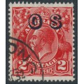 AUSTRALIA - 1932 2d red KGV, SM watermark inverted, perf. 13½:12½, o/p OS, used – ACSC # 102C(OS)a