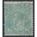 AUSTRALIA - 1927 1/4 greenish blue KGV Head, SM watermark, perf. 14¼:14, used – ACSC # 129A