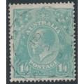 AUSTRALIA - 1927 1/4 turquoise-blue KGV Head, SM watermark, perf. 14¼:14, used – ACSC # 129B