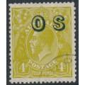 AUSTRALIA - 1932 4d greenish olive KGV Head, SM watermark, p.13½:12½, o/p OS, CTO – ACSC # 116A(OS)w