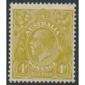 AUSTRALIA - 1933 4d olive KGV Head, CofA watermark, MH – ACSC # 117A