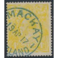 AUSTRALIA - 1916 4d lime-yellow KGV Head, single watermark, used - ACSC # 110D