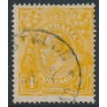 AUSTRALIA - 1917 4d pale orange-yellow KGV, 'line through FOUR PENCE', used – ACSC # 110E(2)r