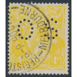 AUSTRALIA - 1916 4d lime-yellow KGV Head, perforated OS, used – ACSC # 110Db