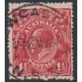 AUSTRALIA - 1924 1½d dull red KGV Head, single watermark, coarse paper, used – ACSC # 89Gac