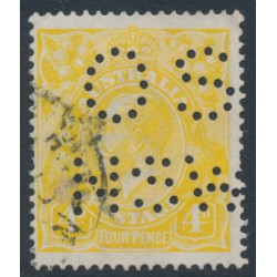 AUSTRALIA - 1916 4d lemon-yellow KGV, perf. OS NSW, 'line through FOUR PENCE', used – ACSC # 110C(2)r+b