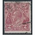 AUSTRALIA - 1924 2d red-brown KGV Head, single watermark, 'crack over Emu's head', used – ACSC # 97A(12)e