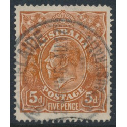 AUSTRALIA - 1915 5d chestnut KGV Head, single-line perforated, inverted single watermark, used – ACSC # 122Aa