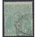 AUSTRALIA - 1927 1/4 blue KGV Head, SM watermark, perf. 14¼:14, 'thick 1 at right', used – ACSC # 129An