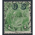 AUSTRALIA - 1932 1d green KGV Head, o/p OS, CofA watermark reversed, used – ACSC # 82D(OS)aa