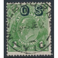 AUSTRALIA - 1932 1d green KGV Head, o/p OS, CofA watermark reversed, used – ACSC # 82D(OS)aa