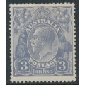 AUSTRALIA - 1924 3d violet-blue KGV Head, die I, single watermark, MH – ACSC # 104A