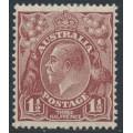 AUSTRALIA - 1930 1½d red-brown KGV Head, SM watermark, perf. 13½:12½, MNH – ACSC # 93