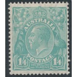AUSTRALIA - 1932 1/4 turquoise-blue KGV Head, CofA watermark, MH – ACSC # 131B