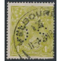 AUSTRALIA - 1928 4d olive KGV Head, SM watermark, p.14¼:14, perf. OS, used – ACSC # 115b