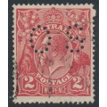 AUSTRALIA - 1922 2d red KGV Head, inverted watermark, perf. OS, 'flaws on 2', used – ACSC # 96C(10)h+a+b