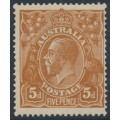AUSTRALIA - 1917 5d brown KGV Head, comb perf., 'spear in Emu's chest', MH – ACSC # 123Eu
