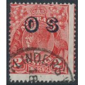 AUSTRALIA - 1932 2d red KGV Head, SM watermark, o/p OS, misplaced perforations, used – ACSC # 102A(OS)