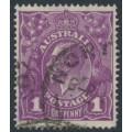 AUSTRALIA - 1922 1d deep violet (aniline) KGV Head, single watermark, used – ACSC # 76G