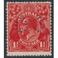 AUSTRALIA - 1927 1½d intense golden scarlet KGV, SM wmk, p.13½:12½, perf. OS, MH – ACSC # 92K