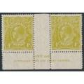 AUSTRALIA - 1929 4d olive KGV Head, SM watermark, perf. 13½:12½, Imprint pair, MH – ACSC # 116A(3)z