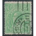 AUSTRALIA - 1915 ½d pale emerald KGV Head, single watermark, line perforated, used – ACSC # 64A