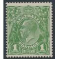 AUSTRALIA - 1924 1d moss green KGV Head, single watermark, 'dry ink' + 'Ferns', MH – ACSC # 77D(4)ia+c
