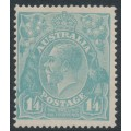 AUSTRALIA - 1920 1/4 pale turquoise-blue KGV Head, single watermark, MH – ACSC # 128A