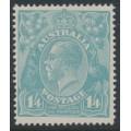 AUSTRALIA - 1920 1/4 turquoise-blue KGV, single watermark, 'retouched NE corner', MH – ACSC # 128Ak
