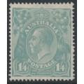 AUSTRALIA - 1927 1/4 greenish blue KGV Head, SM watermark, perf. 14¼:14, MH – ACSC # 129A
