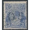 AUSTRALIA - 1929 3d blue KGV Head, die II, SM watermark, perf. 13½:12½, perf. OS, 'dry ink', used – ACSC # 108Ac