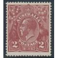 AUSTRALIA - 1924 2d red-brown KGV Head, single watermark, MH – ACSC # 97A
